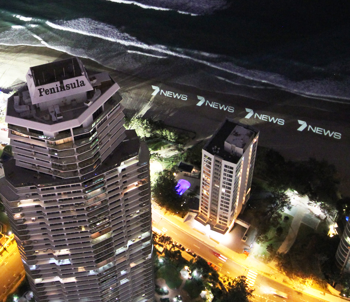 Channel 7 News Gold Coast Beach Advertising LED Spot Light