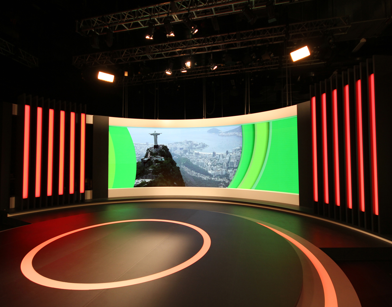 Channel 7 Rio Olympics TV Studio Curved LED and Custom Lighting
