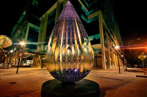 Droplet Sculpture Canberra Outdoor LED Artwork Lighting