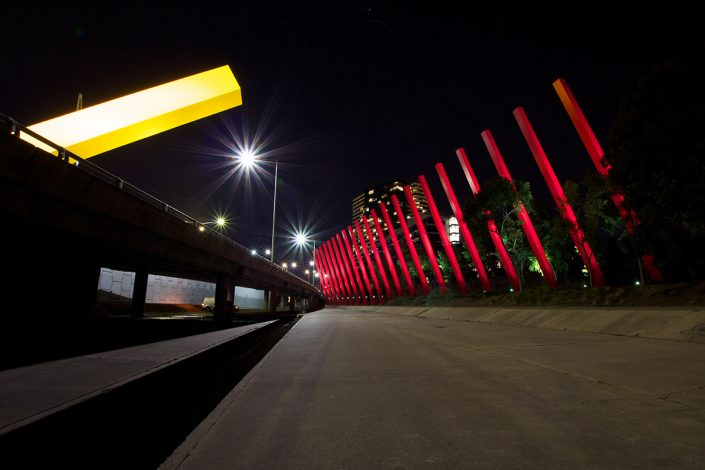 Red Sticks Melbourne Public Space Artwork Architectural Lighting