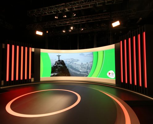 Rio Olympics 2012 Channel 7 TV Studio Custom Lighting Curved LED Screen