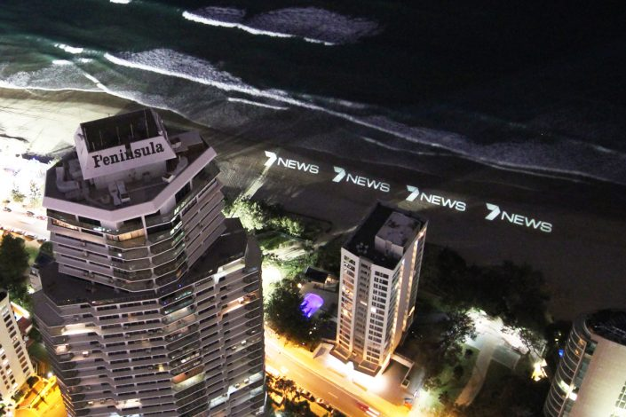 Creative Advertising Channel 7 News Gold Coast Surfers Paradise Beach LED Spot Light