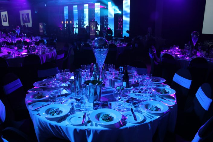 Hospitality Awards Ceremony and Gala Table Event Lighting
