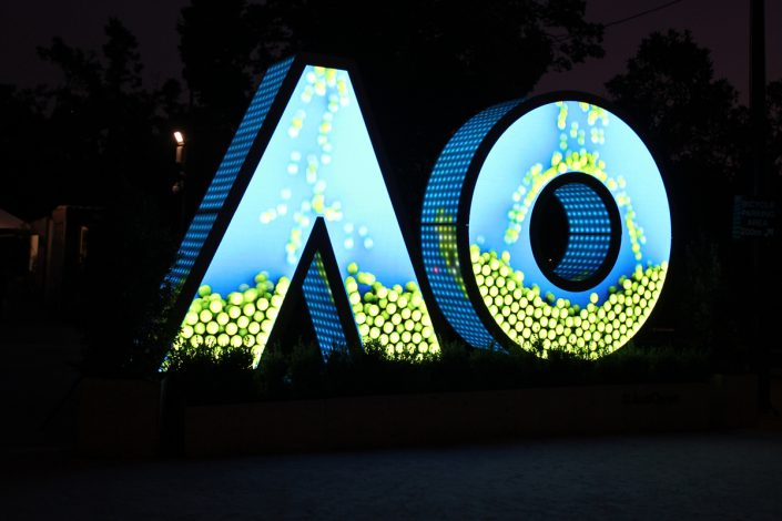 Australian Open Tennis Outdoor LED Lighting Custom Artwork Light Installation