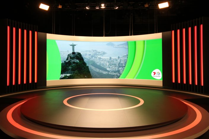 Channel 7 Studio Rio Olympics Broadcast Custom Lighting Curved LED Screen
