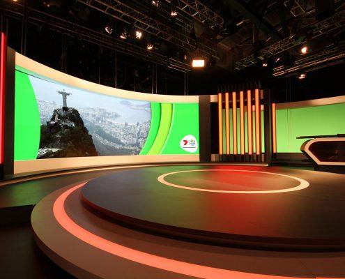 Channel 7 Studio Rio Olympics TV Studio Broadcast Stage Custom Lighting Curved LED Screen