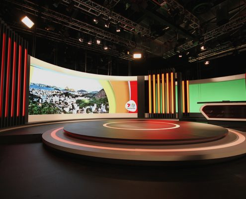 Channel 7 Studio Rio Olympics TV Studio Broadcast Stage Custom Lighting Curved LED Screen
