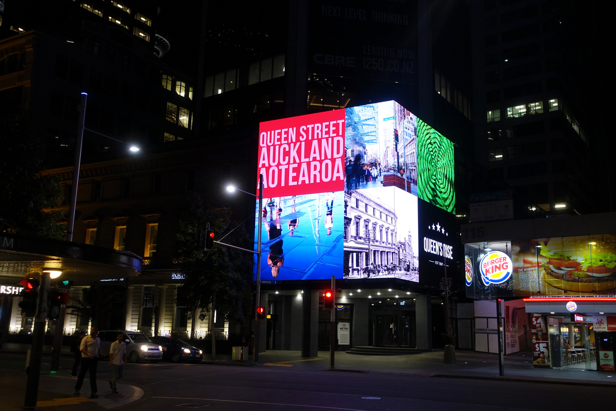 Queens Rise New Zealand Building Facade LED Screen Outdoor Billboard Advertising