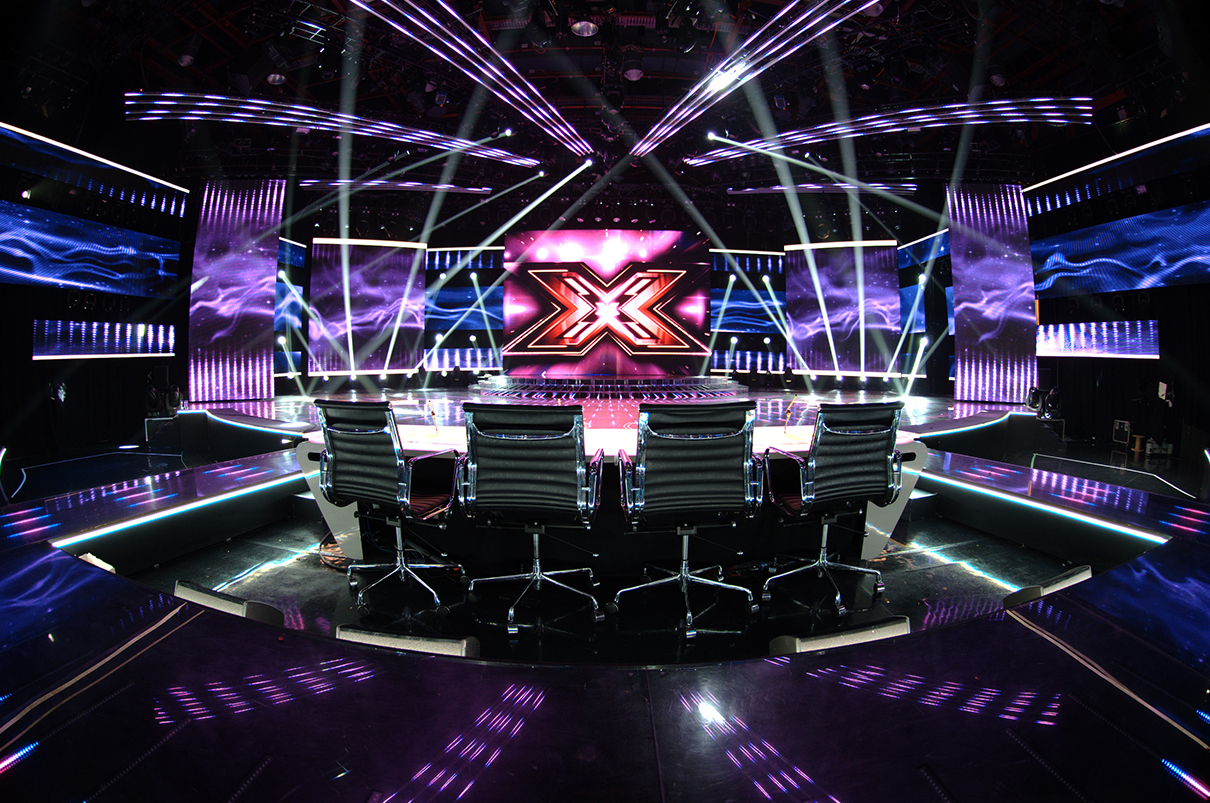 X Factor TV Studio Theatre Lighting Custom LED Screens