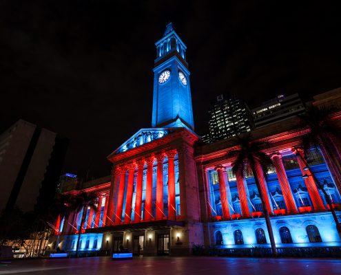 Brisbane City Hall Light Show Custom Outdoor LED Building Facade Architectural Lighting