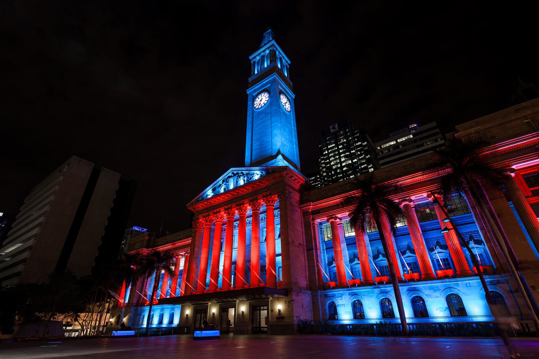 Brisbane City Hall Light Show Custom Outdoor LED Building Facade Architectural Lighting