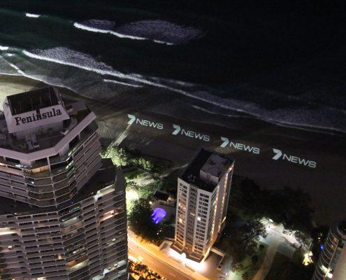 Channel 7 LED Lighting Beach Advertising