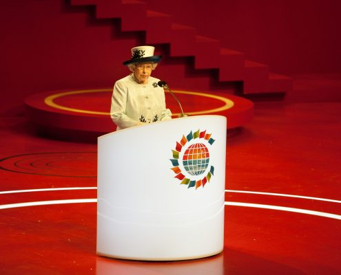 CHOGM Event LED Stage Lighting Design Queen Elizabeth Speaking at a podum