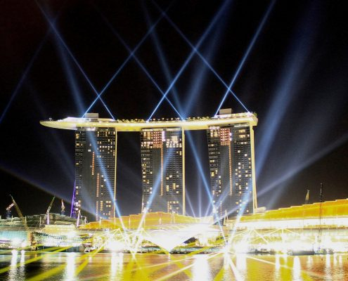 Marina Bay Sands Building Facade Architectural LED Lighting Light Show
