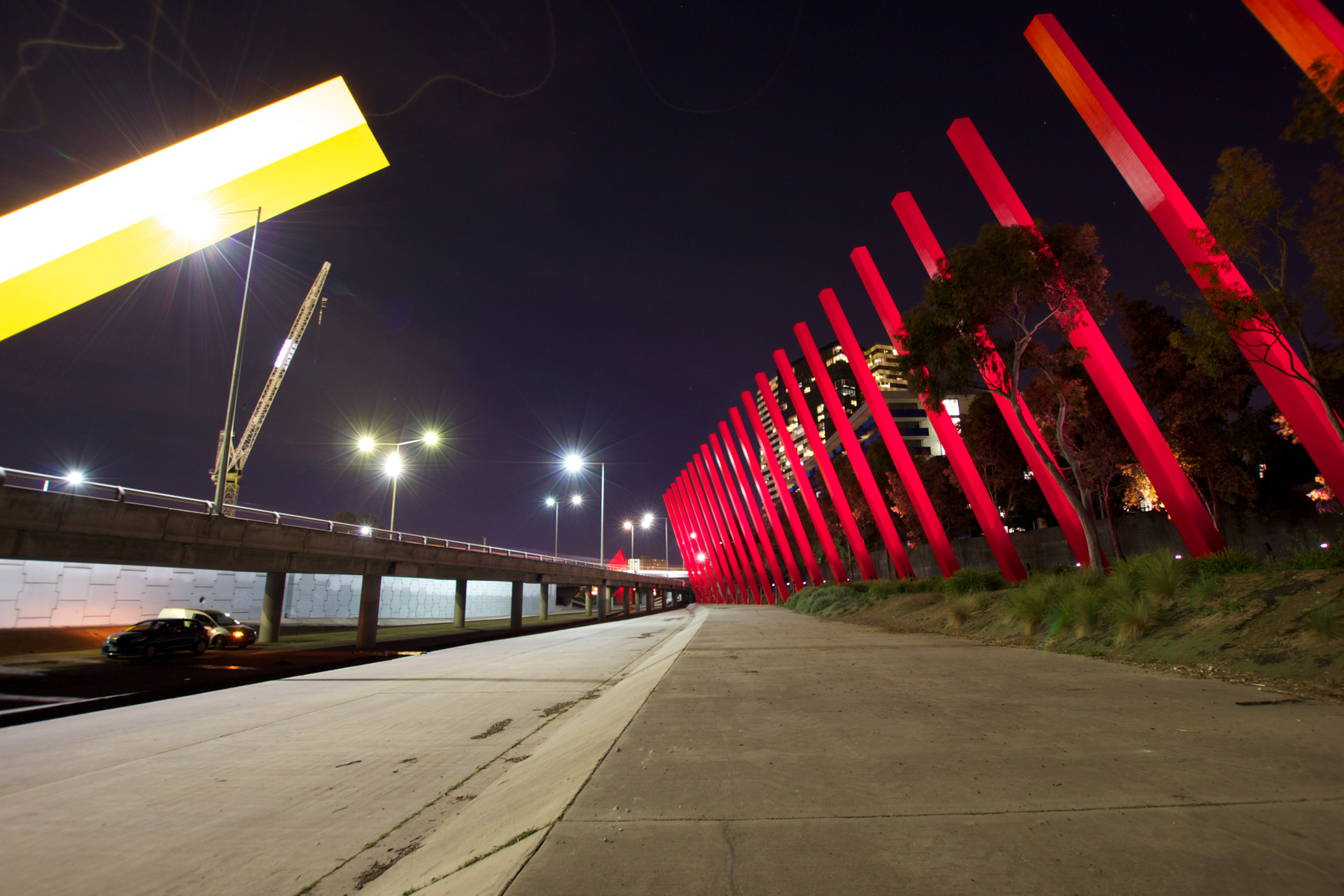 Red Sticks Installation Artwork Outdoor LED Custom Architectural Lighting