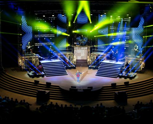 Gospel Skouspel Stage Lighting Design Event Lighting with LED Screen Panels