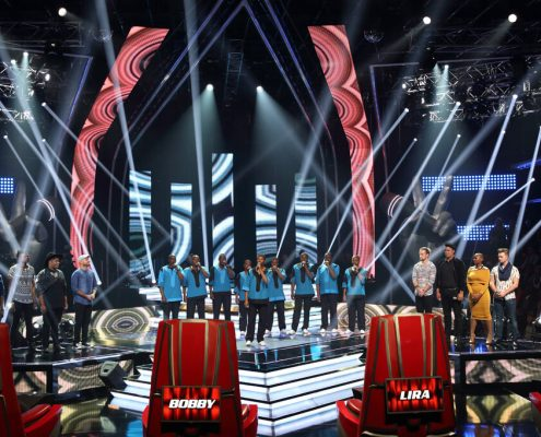 The Voice South Africa Choir TV Show Set Design Custom LED Screens and Light Show