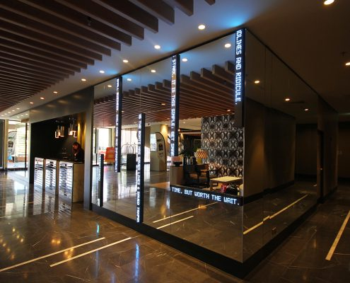 QT Hotel Foyer Artwork Installation Mirror and LED Wall