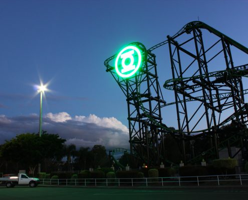 Green Lantern Roller Coaster Warner Bros Movie World Gold Coast Custom LED Signage