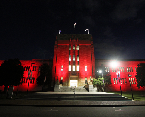 UQ University of Queensland Forgan Smith Building Facade Lighting