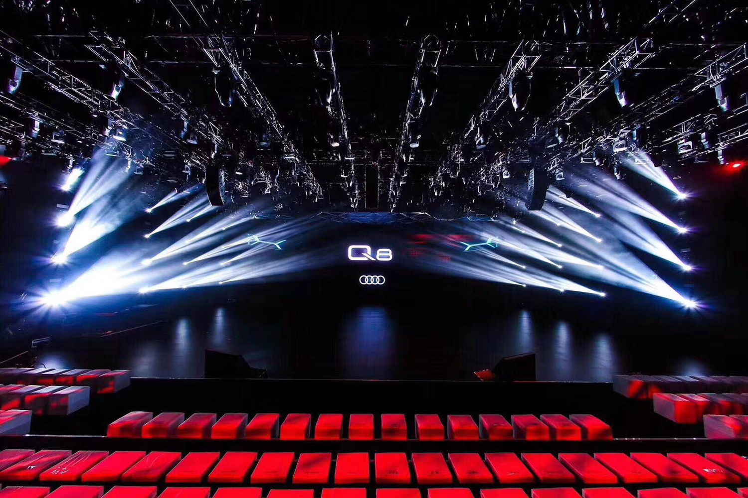 Audi Q8 Announcement Stage LED Screen and Event Lighting