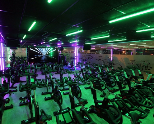 Astera Entertainment Lighting in the Spin Studio at Titan Fitness Sydney